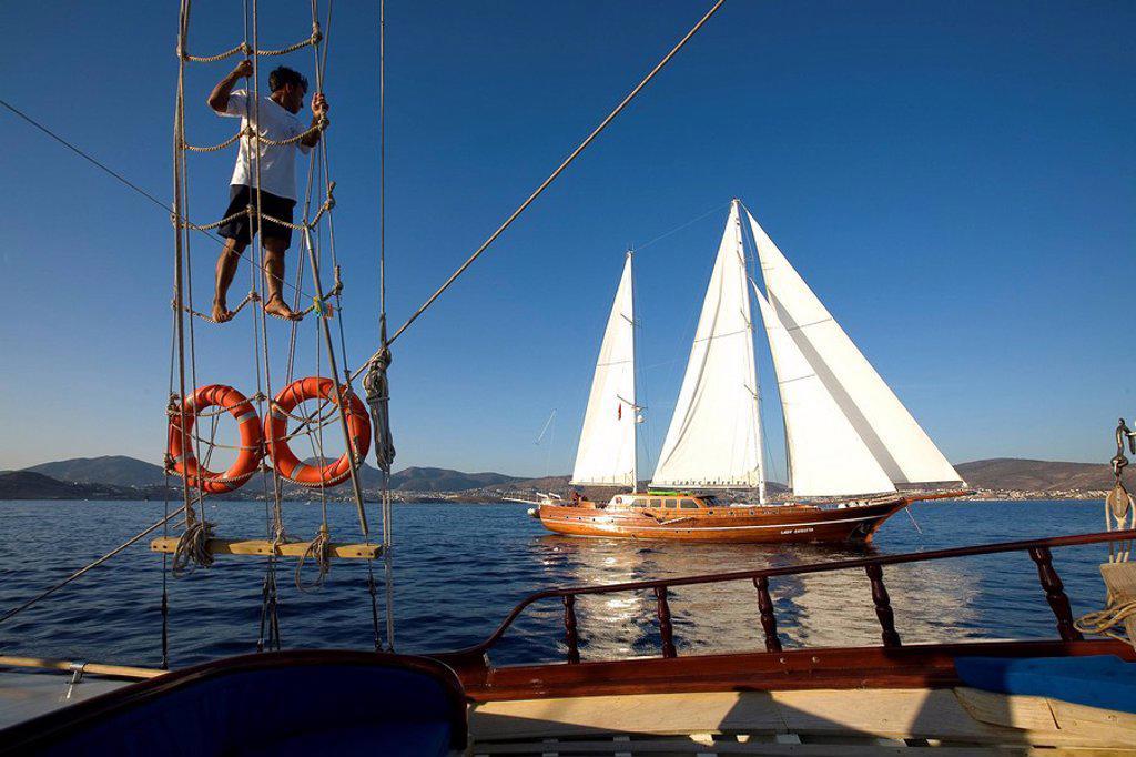 Stock Photo: 1792-89511 Turkey, Aegean coast, Lady Christa Gulet traditional Turkish sailing boat