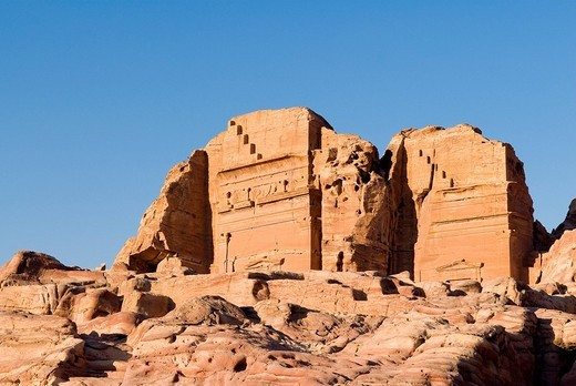 Stock Photo: 1792-90983 Jordan, Nabaean archeological site of Petra listed as World Heritage by UNESCO, Sextus Florentinus tomb