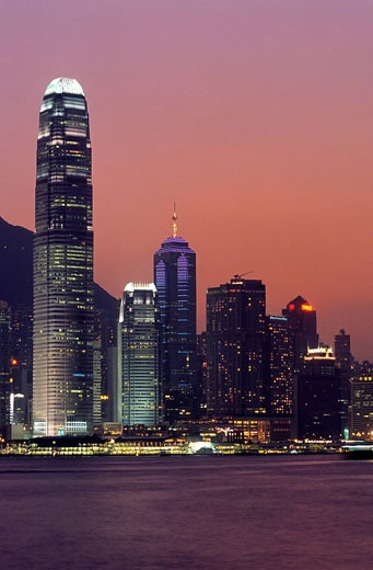 China, Hong Kong, Hong Kong Island and towers of Two International Finance Centre on the left seen from Kowloon : Stock Photo