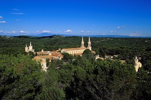 France, Bouches du Rhone, Tarascon, Saint Michel de Frigolet abbey : Stock Photo