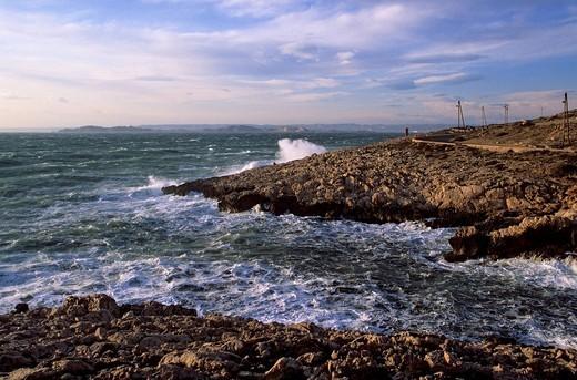Stock Photo: 1792-91505 France, Bouches du Rhone, Marseille, Cap Croisette, Goudes road, day with mistral