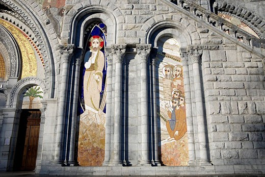 France, Hautes Pyrenees, Lourdes, mosaic showing The Transfiguration of Jesus on the Rosary Basilica facade realized by Father Marko Rupnik for the 2008 Jubilee, Pictures taken with the authorization  : Stock Photo