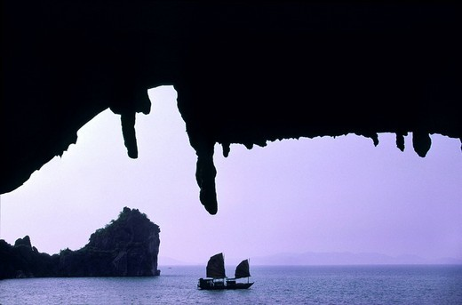 Stock Photo: 1792-92253 Vietnam, Halong Bay listed World Heritage by UNESCO, view from a natural cave, a junk