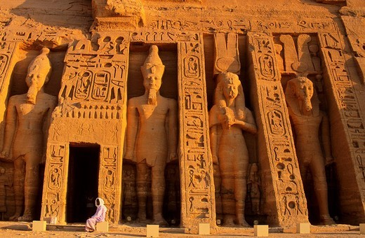 Egypt, Nubia, Abu Simbel, site listed as World Heritage by UNESCO, Nefertari Temple dedicated to Hathor Goddess at the edge of Lake Nasser : Stock Photo