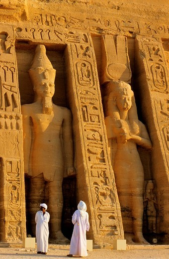 Egypt, Nubia, Abu Simbel, site listed as World Heritage by UNESCO, Nefertari Temple dedicated to Hathor goddess at the edges of Lake Nasser : Stock Photo