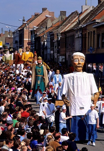 France, Nord, Steenvoorde, procession of giants : Stock Photo