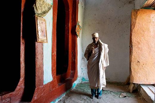 Stock Photo: 1792-92564 Ethiopia, Tigray area, churches Gheralta group, the church perched on Maryam Korkor
