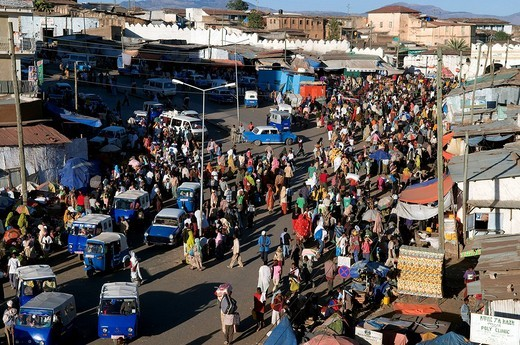 Ethiopia, Harar, town listed as World Heritage by UNESCO, the Christian market of the Shoa door : Stock Photo
