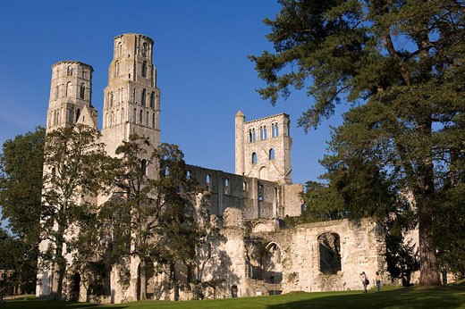 France, Seine Maritime, Pays de Caux, Jumieges Abbey destroyed during religious wars : Stock Photo