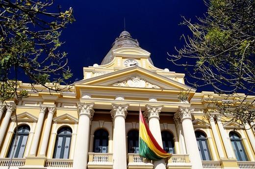 Bolivia, La Paz Department, La Paz, Plaza Murillo, Palacio del Gobierno, facade : Stock Photo