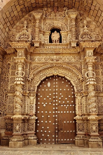 Bolivia, Potosi department, Potosi province, Potosi, town listed as World Heritage by UNESCO, San Lorenzo colonial church, Baroque portal : Stock Photo