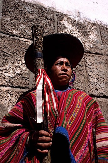 Stock Photo: 1792-93565 Peru, Cuzco province, Pisac, portrait of an Indian assuming the charge of local authority or Curaca