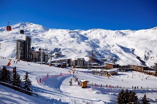 France, Savoie, Les Menuires, La Croisette, Pointe de la Masse 2804 m : Stock Photo