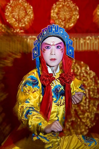 Stock Photo: 1792-93978 Taiwan, Taipei, Taiwan Cement Hall, Taipei Eye, Chinese opera singer