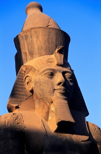 Egypt, Nile Valley, Luxor, detail of Ramses II´s head at Luxor Temple in front of the entrance of the 2nd pylon : Stock Photo