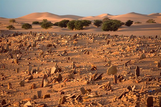 Mauritania, Adrar, Chinguetti, listed as World Heritage by UNESCO, cemetery : Stock Photo