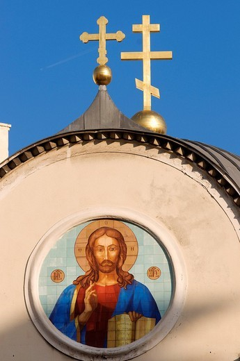 Stock Photo: 1792-94288 France, Alpes Maritimes, Nice, Russian Orthodox Cathedral of St Nicolas and St Alexandra built in 1859 on Boulevard Tzarevitch