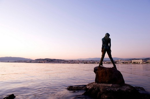 Stock Photo: 1792-95223 France, Alpes Maritimes, Cannes, the Croisette at nightfall, mermaid Atlante, guarding Port Canto, by sculptor Amaryllis Bataille