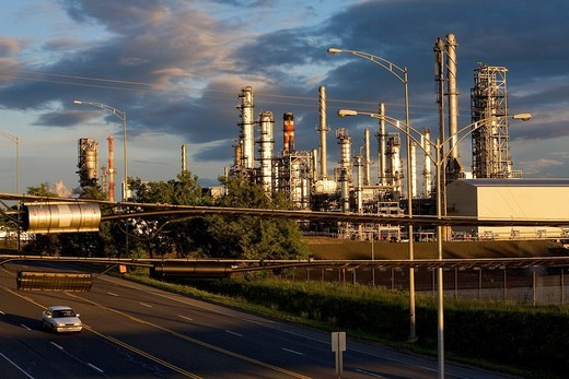 Stock Photo: 1792-95274 Canada, Quebec Province, Quebec Levis City, oil refinery