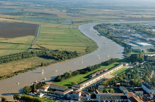 France, Charente Maritime, Rochefort, Arsenal District, the Corderie Royale Royal Rope Factory realized by Colbert in 1666, 370m long, and Charente River aerial view : Stock Photo