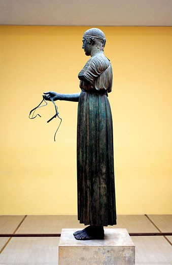 Greece, Phocis, Delphi, Archaeological Museum, the Charioteer of Delphi : Stock Photo