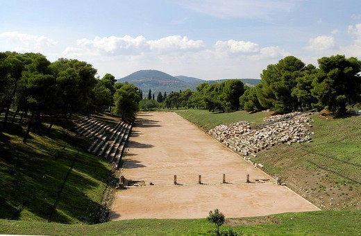 Stock Photo: 1792-95601 Greece, Peloponnese, Epidaurus, Epidaurus amphitheatre listed as World Heritage by UNESCO, Epidaurus stadium