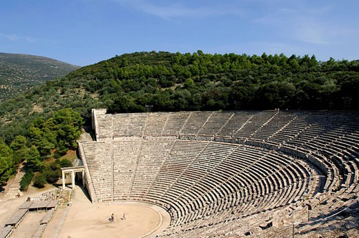 Stock Photo: 1792-95602 Greece, Peloponnese Region, the archaeological site of Epidaurus, listed as Wolrd Heritage by UNESCO, the theater built in the fourth century BC by the Argien architect Polykleitos the Younger