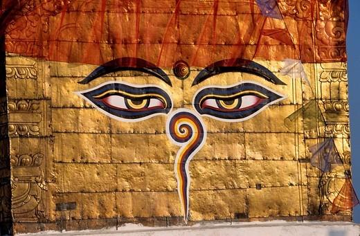 Nepal, Kathmandu Valley, listed as World Heritage by UNESCO, Swayambunath, stupa with Buddha´s eyes : Stock Photo