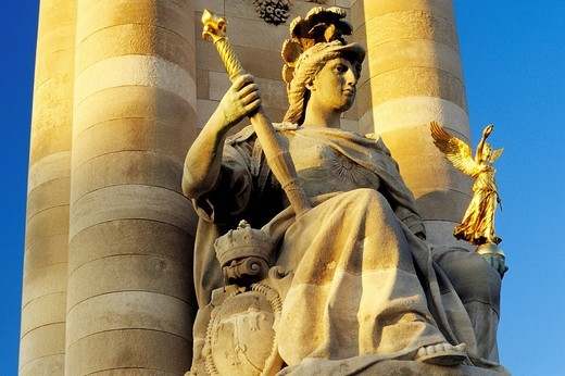 France, Paris, Pont Alexandre III, Left Bank, incarnation of the Reviving France on one of the 4 angle pillars : Stock Photo