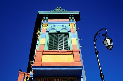 Argentina, Buenos Aires, La Boca district, coloured architecture at the Caminito : Stock Photo