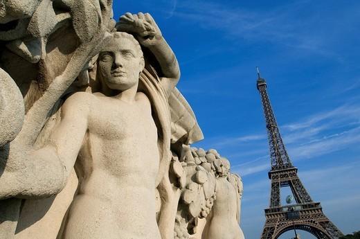 France, Paris, Eiffel Tower seen from the Trocadero Garden : Stock Photo