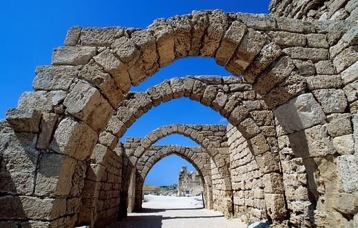 Israel, Haifa district, Caesarea Caesarea Maritima, Christian Crusaders citadel, street : Stock Photo