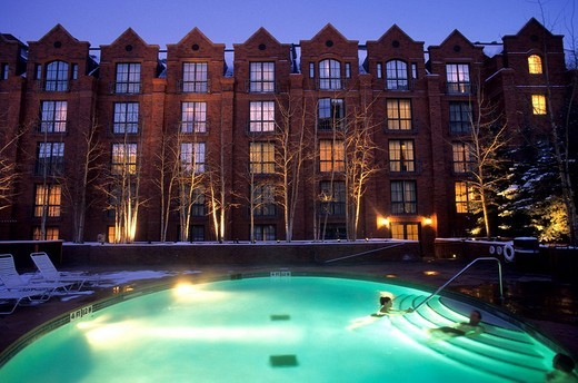 United States, Colorado, Aspen, St Regis resort, exterior swimming_pool : Stock Photo