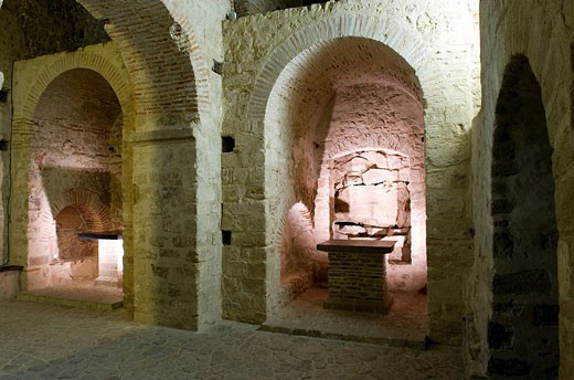 Stock Photo: 1792-97811 France, Manche, Mont Saint Michel, listed as World Heritage by UNESCO, abbey, Notre Dame Sous Terre Crypt