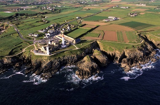 Stock Photo: 1792-97898 France, Finistere, Pointe Saint Mathieu, lighthouse and abbey aerial view