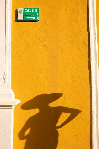 Mexico, Campeche State, Campeche City, young woman wearing a hat : Stock Photo