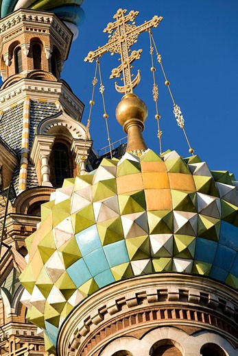 Russia, Saint Petersburg, Church of the Savior on Spilled Blood, listed as World Heritage by UNESCO, cupola : Stock Photo