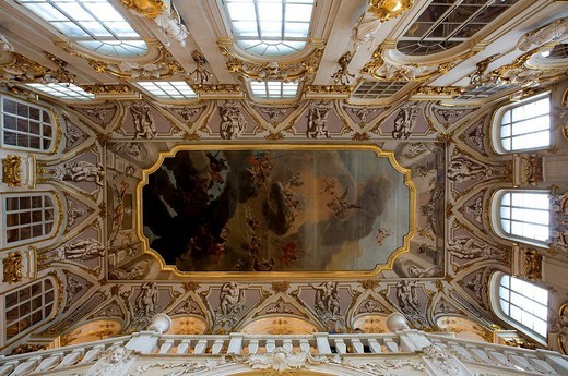 Stock Photo: 1792-98765 Russia, Saint Petersburg, Winter Palace, hosting the Hermitage Museum, built by Bartolomeo Rastrelli 1754 _ 1762, listed as World Heritage by UNESCO, ceiling of the Ambassador Staircase