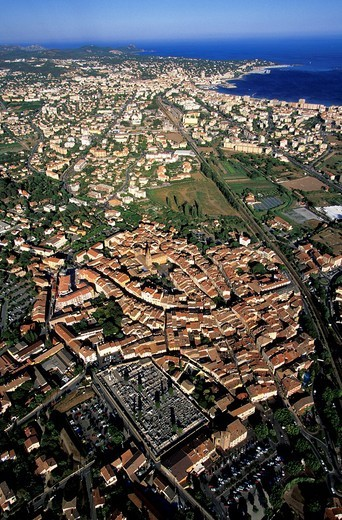 France, Var, Frejus, Saint Raphael in the background aerial view : Stock Photo
