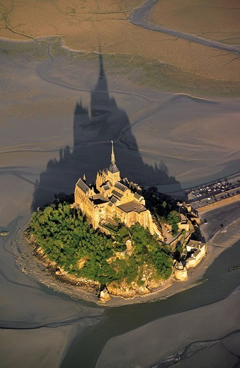 France, Manche, Mont Saint Michel St Michael´s Mount, listed as World Heritage by UNESCO aerial view : Stock Photo