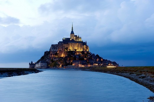 France, Manche, illuminated Mont Saint Michel, listed as World Heritage by UNESCO : Stock Photo