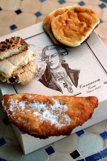 Stock Photo: 1792-99824 France, Corse du Sud, Corte, specialities of the Casanova pastry, anise Canistrelli, Brocciu typical Corsican cheese turnover