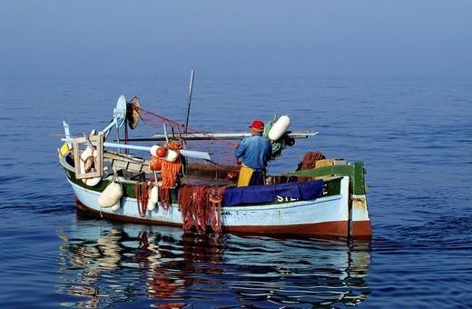 France, Corse du Sud, Ajaccio, pointu boat traditional Mediterranean boat fishing in the Ajaccio Gulf : Stock Photo