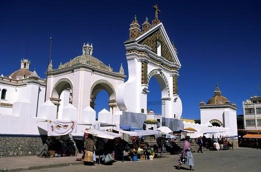 Bolivia, La Paz Department, Manco Kapac Province, Copacabana, market in front of Nuestra Senora de Copacabana Basilica : Stock Photo