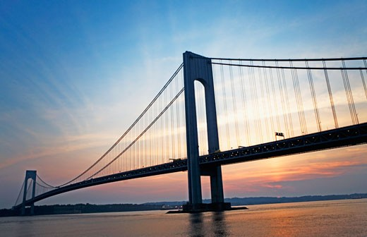 Sunrise at Verrazano bridge, New York, United States : Stock Photo
