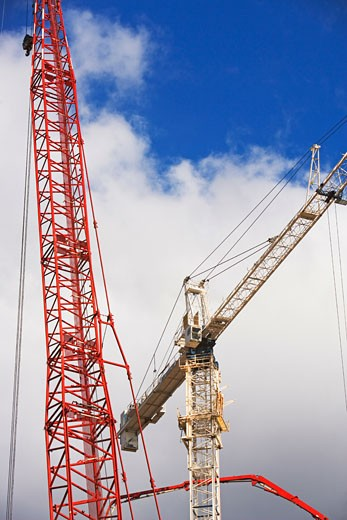 Stock Photo: 1795R-10439 Low angle view of cranes