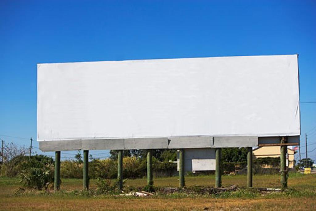 Blank billboard in rural area : Stock Photo