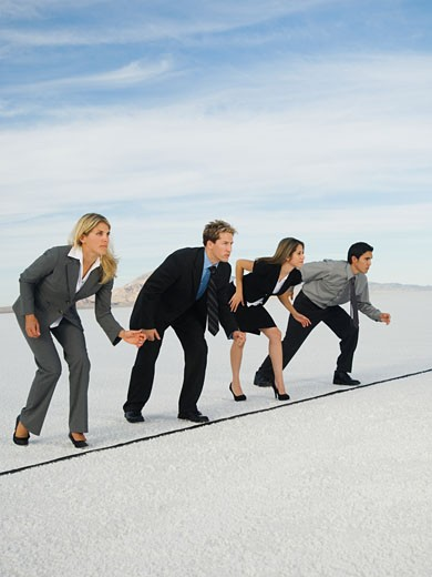 Businesspeople at starting line for race, Salt Flats, Utah, United States : Stock Photo