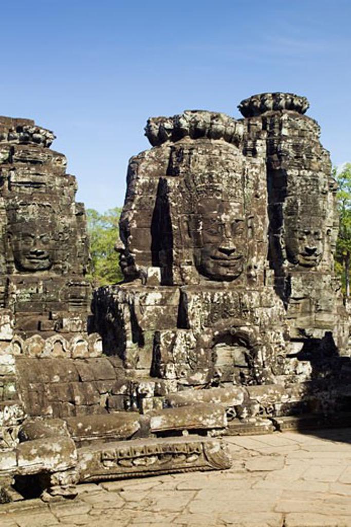 Ancient Temple Angkor Thom Angkor Wat Bayon Cambodia : Stock Photo