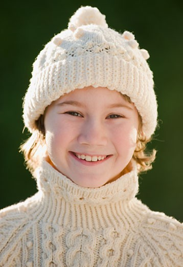 Boy wearing hat and sweater : Stock Photo